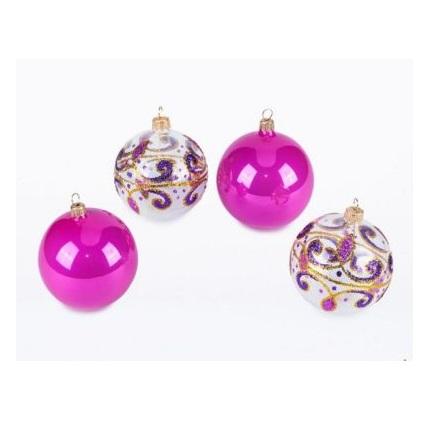 Lace set of Christmas balls. Glass Christmas ornaments.