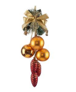 Novel Christmas Garland with Glass Christmas Balls and Pine Cones, Glass Christmas Ornaments