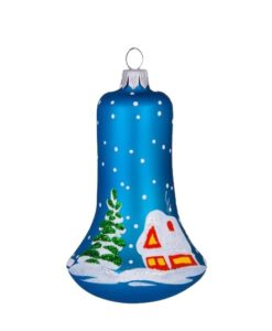 Glass Christmas Figurine Bell, Winter