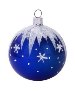 Winter Christmas Ball, Blue - Glass Christmas Ornaments