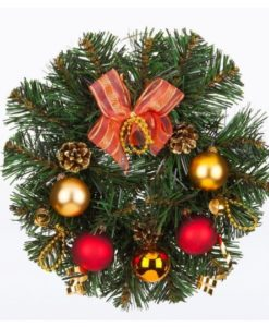 Forest christmas garland with glass Christmas balls in gold and red