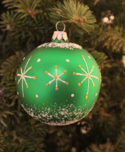 Glass Christmas Ball wizard green