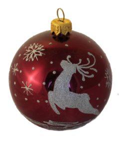 Deer and Snowflakes - Glass Christmas Ball Ornaments